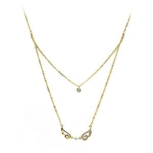 Gold duplexes asymmetric crystal wing necklace